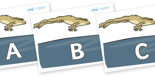 A-Z Alphabet on Frog - A-Z, A4, display, Alphabet frieze, Display letters, Letter posters, A-Z letters, Alphabet flashcards