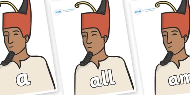 Foundation Stage 2 Keywords on Egyptian Kings - FS2, CLL, keywords, Communication language and literacy,  Display, Key words, high frequency words, foundation stage literacy, DfES Letters and Sounds, Letters and Sounds, spelling
