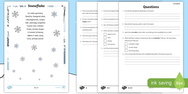 ks2 snowflake comprehension differentiated worksheet worksheet christmas. Black Bedroom Furniture Sets. Home Design Ideas