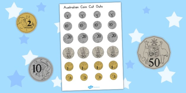 picture relating to Printable Coins named Australian Coin Reduce Outs - Australian Cash Printable
