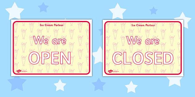 Ice Cream Parlour Open Closed Signs - ice cream parlour, open, closed