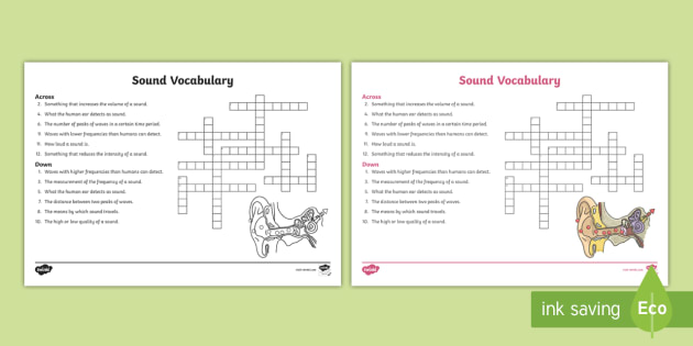 Sound Crossword - Sound, Physical Science, Physics, Sound Waves