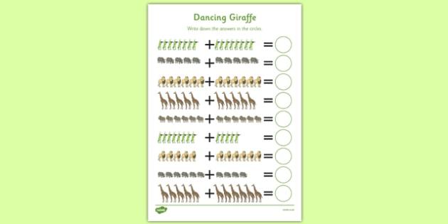 Dancing Giraffe Themed Up to 20 Addition Sheet - Giraffes Can't Dance, adding, sums, counting, EYFS, twenty, jungle
