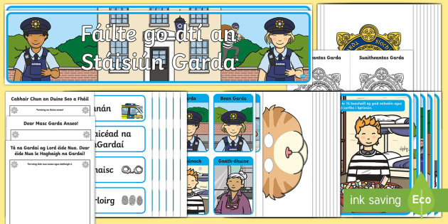 Aistear Guard Station Display Pack Gaeilge - Aistear, Infants, English Oral Language, School, The Garda Station, The Hairdressers, The Airport, T
