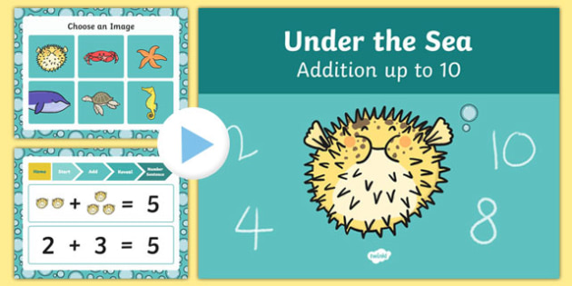 Under The Sea Themed Addition to 10 PowerPoint - under the sea, addition, powerpoint, 10