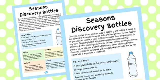 Seasons Discovery Bottles Adult Guidance Sheet - guide, plan