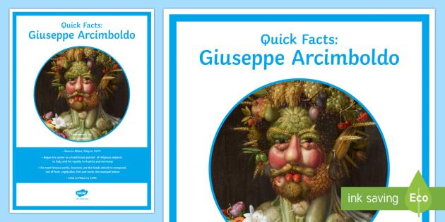 Arcimboldo Quick Facts Display Poster - art strands, Arcimboldo, artist, fact file, fact card, display poster,Irish
