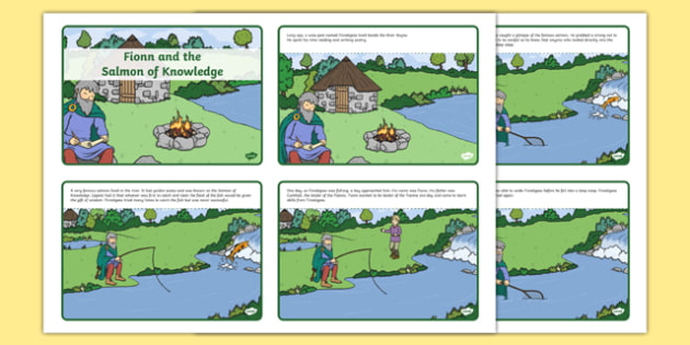 Fionn and the Salmon of Knowledge Story Cards -  roi, republic, of ireland, myths, legends,