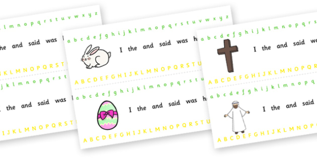 Alphabet Strips (Easter) - Alphabet, Learning letters, Writing aid, Writing Area, Easter, bible, egg, Jesus, cross, Easter Sunday, bunny, chocolate, hot cross buns