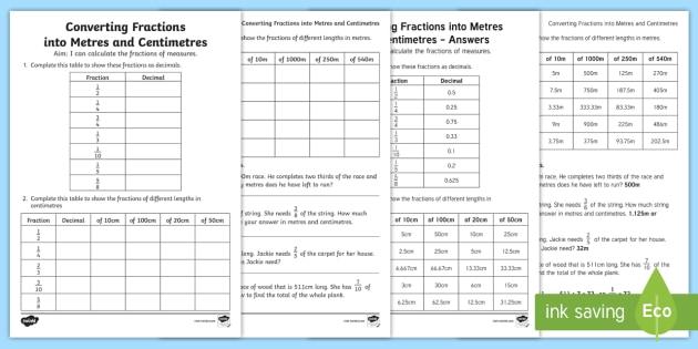 converting fractions into measurements worksheet activity. Black Bedroom Furniture Sets. Home Design Ideas