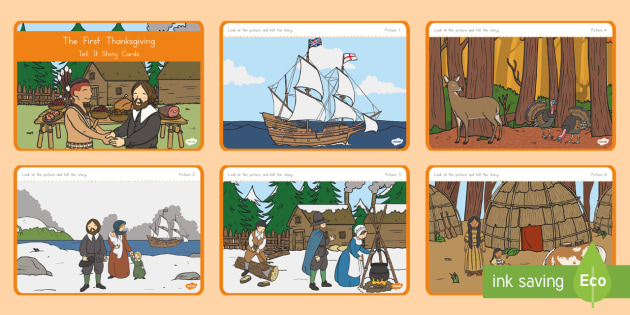 The First Thanksgiving Tell It Story Cards - Thanksgiving, Pilgrims, Native Americans, First Thanksgiving, story telling, visual story clues
