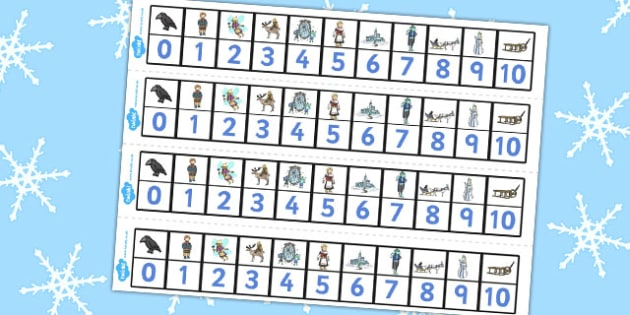 The Snow Queen Number Track 1-10 - maths, numeracy, numbers, aids
