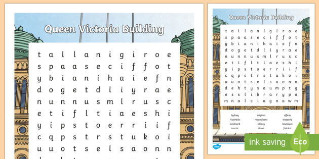 Sydney Queen Victoria Building Word Search-Australia - Sydney Australia, queen victoria building, famous, landmark, word search, find a word, fun, activity