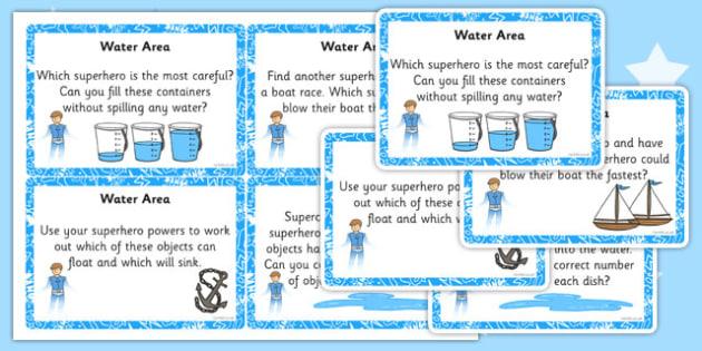 EYFS Superhero Themed Water Area Challenge Cards - superhero