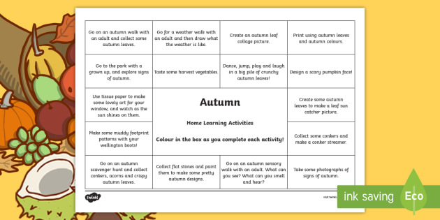 Autumn Home Learning Activities Overview-Scottish - Homework, home learning, outdoors, outdoor learning,Scottish, Home Learning,
