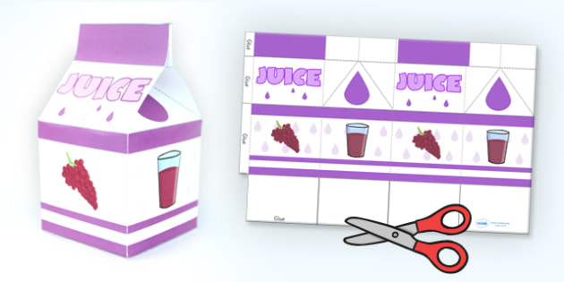 grape juice carton paper craft net template paper craft