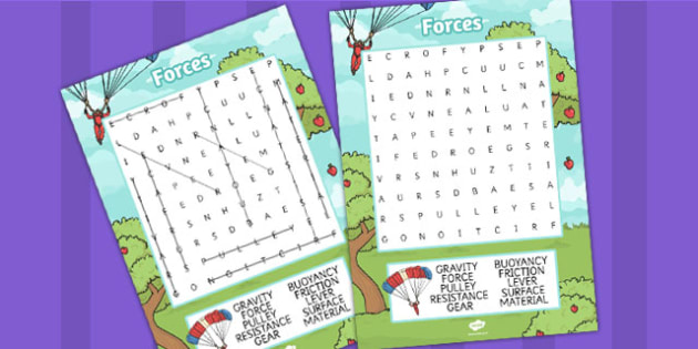 Forces Wordsearch - forces, wordsearch, gravity, friction, push