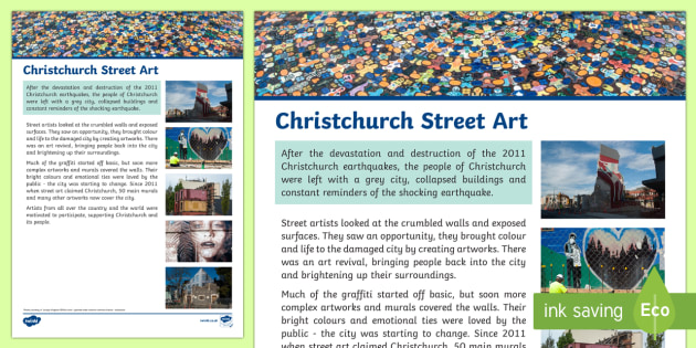 Christchurch Street Art Fact File - New Zealand Natural Disasters, earthquake, tsunami, volcano, monsoon, hurricane, flood, tornado
