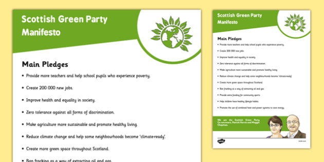 Scottish Elections 2016 Scottish Green Party Manifesto Child Friendly - Scottish Elections, Politics, Holyrood 2016, Politicians, voting, electing, main pledges
