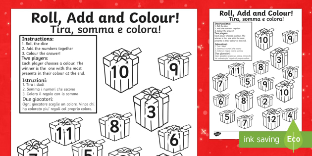 Christmas Present Colour and Roll Addition Activity English/Italian - Christmas Present Colour And Roll Addition Activity - christmas themed addition, christmas addition,