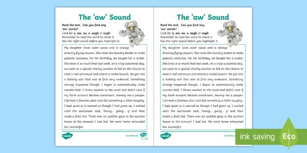 Aw Sound Worksheet Ni Phase 4b Phonics Teacher Made