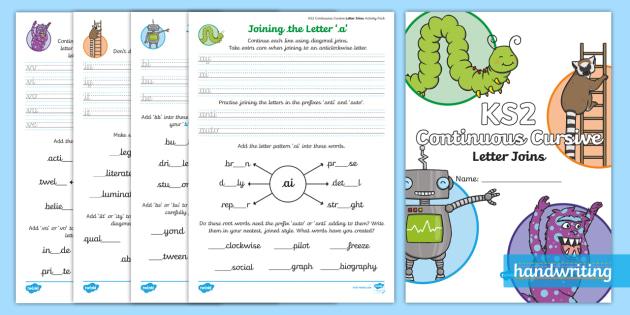 ks2 practising continuous cursive letter joins activity booklet. Black Bedroom Furniture Sets. Home Design Ideas