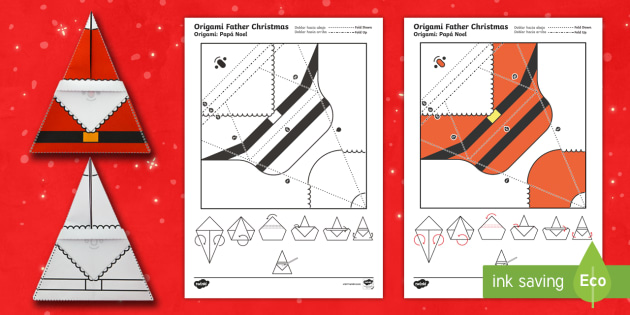 Simple Origami Father Christmas Paper Craft English ... - photo#45