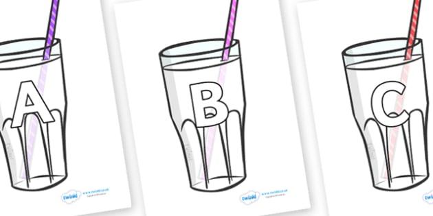 A-Z Alphabet on Milkshakes - A-Z, A4, display, Alphabet frieze, Display letters, Letter posters, A-Z letters, Alphabet flashcards