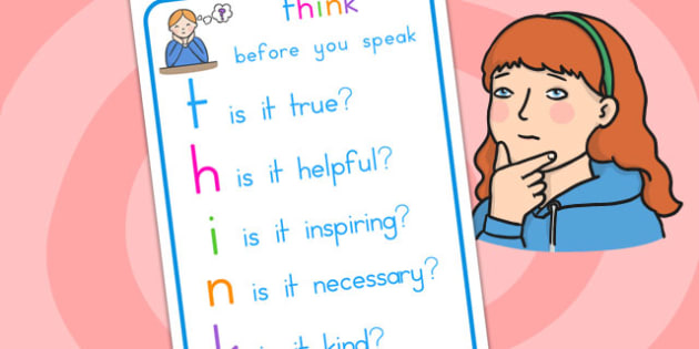 Think Before You Speak Poster - class management, behaviour