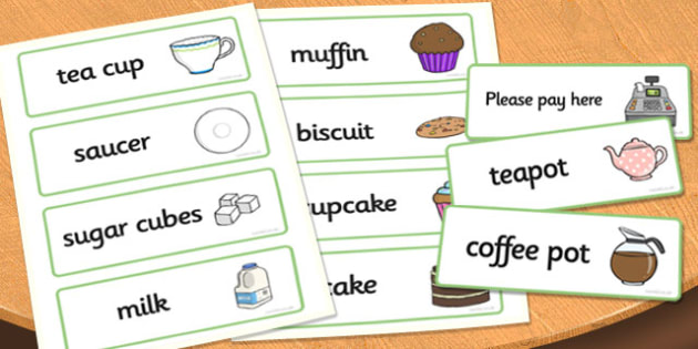 Tea Shop Role Play Word Cards - tea shop, role play, word cards, tea shop cards, tea shop role play, role play cards, cards for tea shop, food cards, drink