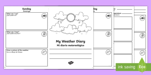my weather diary booklet worksheet worksheet english spanish weather. Black Bedroom Furniture Sets. Home Design Ideas
