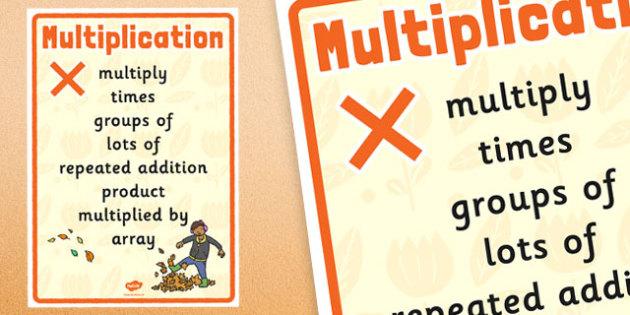 Autumn Themed Multiplication Vocabulary Display Poster - autumn, multiplication, vocabulary, display