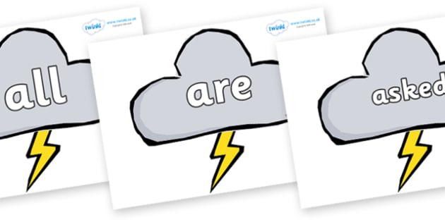 Tricky Words on Weather Symbols (Stormy) - Tricky words, DfES Letters and Sounds, Letters and sounds, display, words