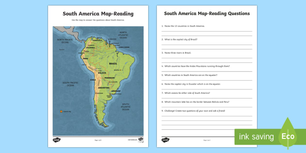 South America Map-Reading Activity - World Around Us KS2 - Northern ...