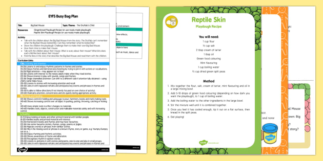 EYFS Big Bad Mouse Playdough Busy Bag Plan and Resource Pack to Support Teaching on The Gruffalo's Child