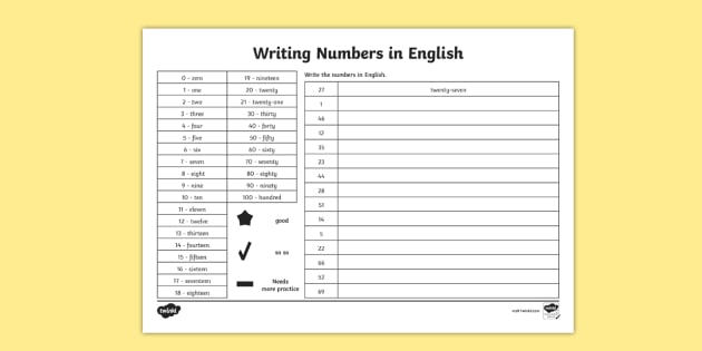 Writing Numbers in Words Worksheet - Writing Numbers ...