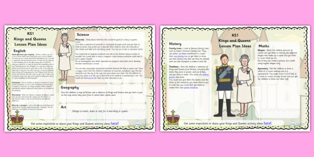 Kings and Queens Lesson Plan Ideas KS1 - lesson plan, ideas, KS1