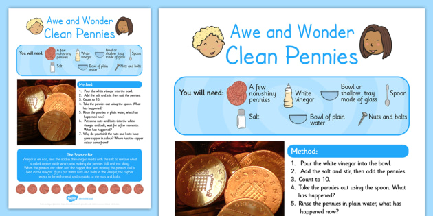 Clean Pennies Awe and Wonder Science Activity - science, activity