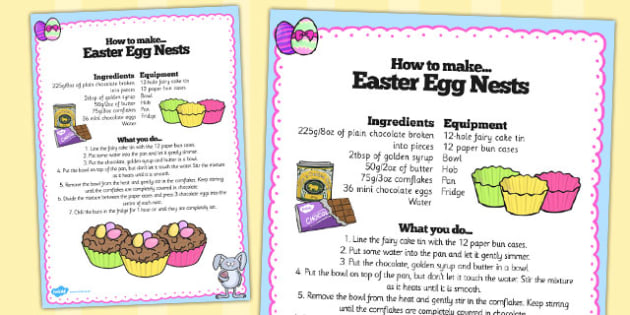 Chocolate Eggs in Nests Recipe Sheet - chocolate, eggs, recipe