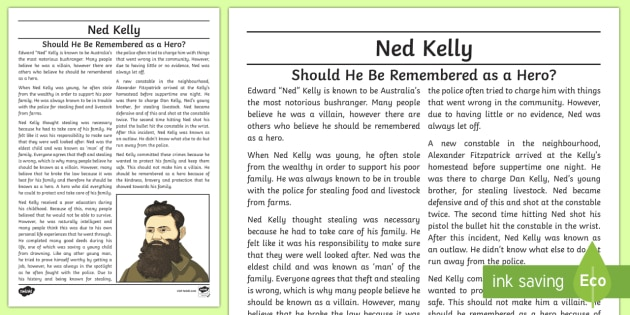 ned kelly hero or villain exposition writing sample. Black Bedroom Furniture Sets. Home Design Ideas