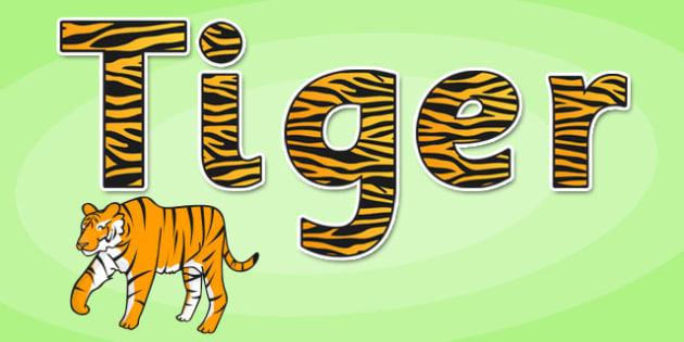 'Tiger' Display Lettering - safari, safari lettering, safari display lettering, safari display words, tiger display lettering, tiger letters, tiger