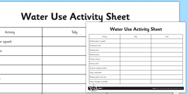 Water Use Survey Activity Sheet - water use, survey, activity, sheet, science, worksheet