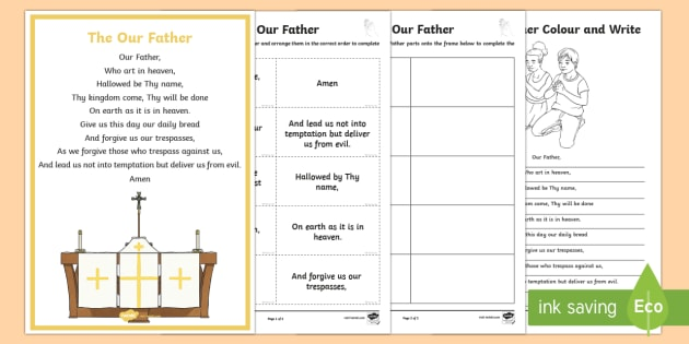 The Our Father Activity Pack - CfE Catholic Christianity, prayers, mass responses,The Our Father ,
