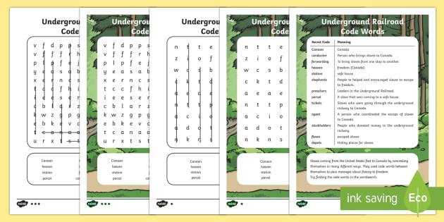 Underground Railroad Code Word Search - Black History Month in Canada, civil rights, social studies.