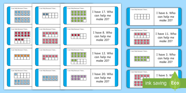 NEW * Partitioning 20 with Ten-Frames Loop Cards - addition