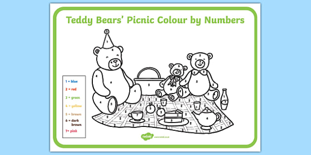 Teddy Bears' Picnic Colour By Numbers - teddy, colour, game, count