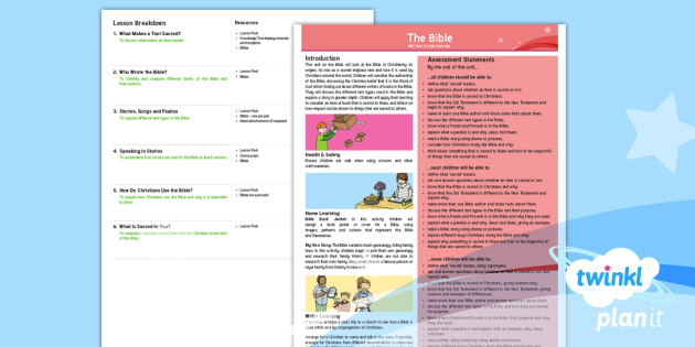 FREE! - PlanIt RE: The Bible Year 4 Planning Overview