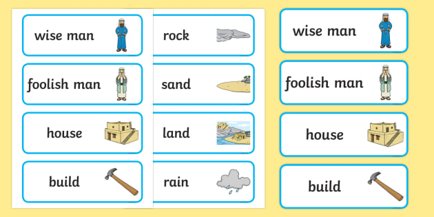 The Wise Man And The Foolish Man Word Cards - the wise man, the foolish man, wise, foolish, sand, rock, word card, flashcards, cards, rain, houses, building, house, bible story, bible