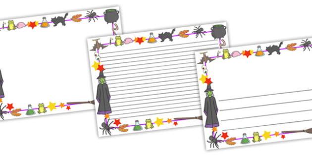 Magic Full Page Borders (Landscacpe) - page border, border, frame, writing frame, writing template, magic, witches, potions, magic writing frames, magic page borders, writing aid, writing, A4 page, page edge, writing activities, lined page, lined pag