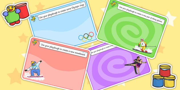 Winter Olympics Playdough Mats - winter, olympic, playdough mat